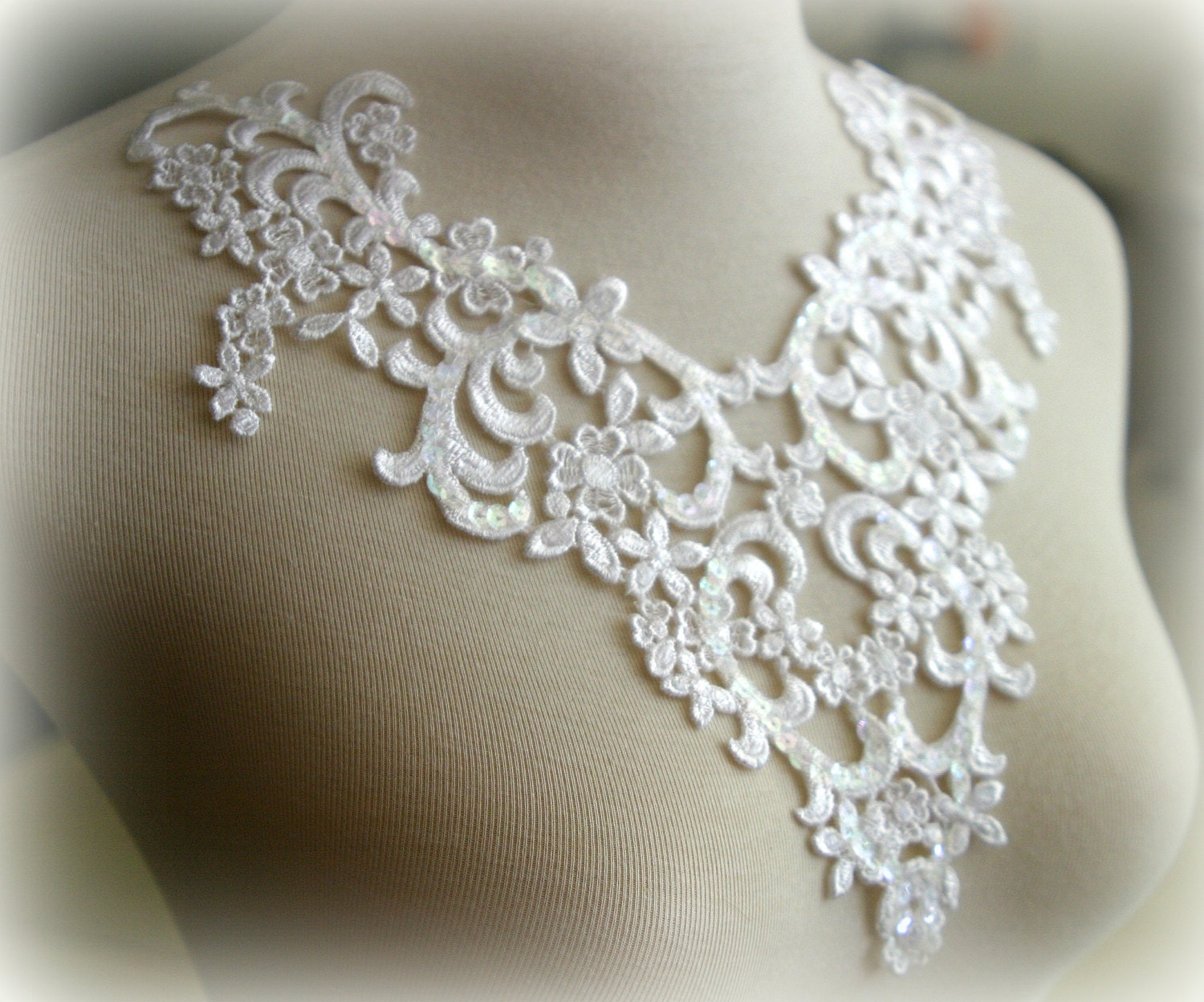 white beaded lace applique lace applique lace by tresorsdeluxe