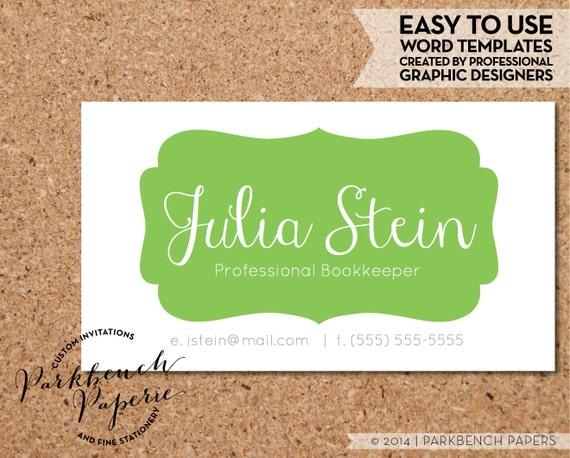 Business Card Template Lime Frame DIY Editable Word