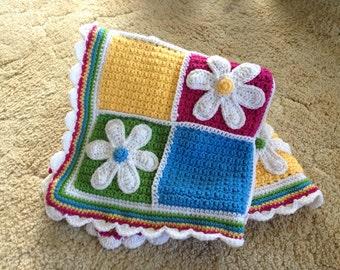 Crocheted Daisy Flower Blanket