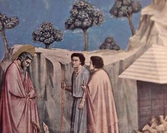 Vintage 1956 Art Print of Giotto's, Gioacino Tra I Pastori, 1303 - 05