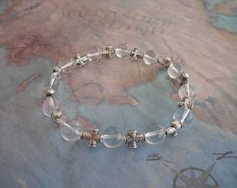 Beautiful quartz & cross charm bracelet