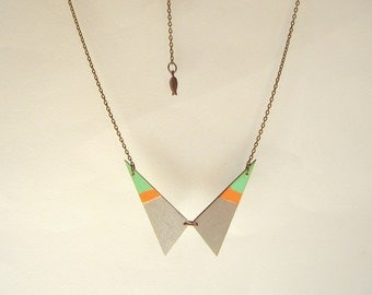 Wood Geometric Necklace , Wood Neon Triangles Necklace,Geometric Jewelry