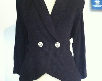 Vintage Late 30s  early 40s Navy Blue Black Jacket and Skirt M Walking Suit Bust 42 Waist 32 As Is Condition