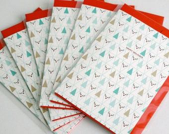 Pack of 6 Christmas card Set of 6 / Triangle / Plaid / Rudolf / A6 / medium