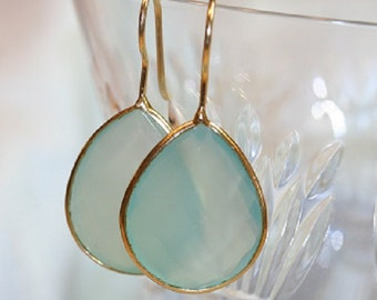 AQUA CHALCEDONY EARRINGS, aqua chalcedony, gold vermeil, dangle earrings