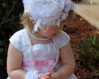 2 Piece Set, White Baby Headband and Wristlet-Baptism/Wedding-Newborn Photo Prop- Infant Headband, Toddler, Girl-Photo Prop-Couture Headband