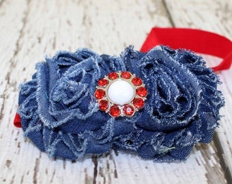 Denim Headband, Red Denim Shabby Flower Headband, Infant Headband, Girls Headband, Toddler Headband, Photo Prop