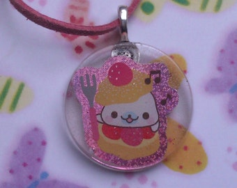 Cute pink cord necklace with a kawaii pendant, resin.