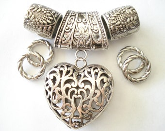 Scarf Jewelry Necklace Pendant Heart Shape For Jewelry Scarf Sold 1 Set 4 Day Delivery whole set including scarf