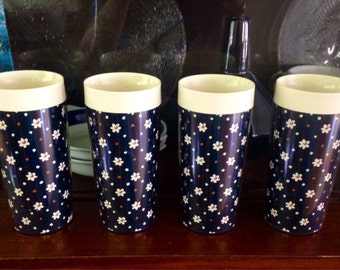 Set of 4 ThermoServ Vintage Insulated Tumblers with Cute Floral Print in Navy Blue, Ivory, Brown - Made from Plastic, Double Walled