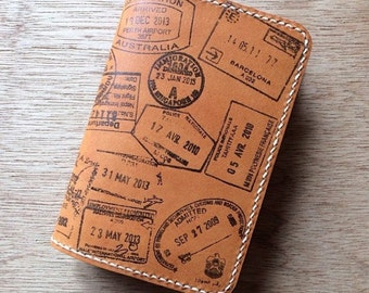 Personalized Leather Passport Holder with Handprinted Travel Stamps, Customized Leather Passport Cover