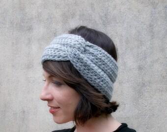 Knit twist Headband , Grey Headwarmer , Earwarmer , head Warmer , Soft Turban Head Band , Winter Fall Headband