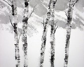 Mountainside Watercolor Birches-Original Painting-Trees-Black White-Scenic-not a print12X9