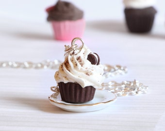 Oreo chocolate cupcake necklace kawaii made of Polymer clay miniature food jewelry