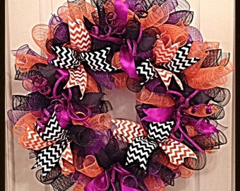 Halloween Deco Mesh Wreath/Purple,Orange and Black Deco Mesh Wreath/Halloween Wreath