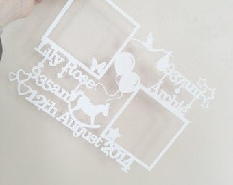 Beautiful hand cut papercut birth details with your photos for twins! Framed!