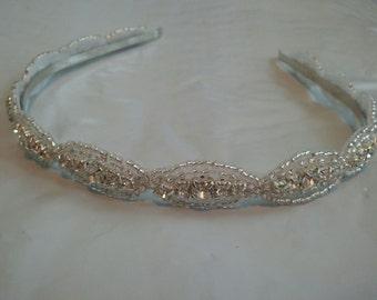 Wedding Headband, Crystal Rhinestone Headband- Style H0088