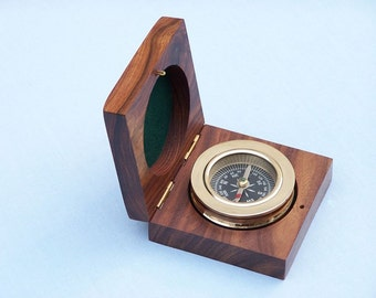 """3"""" Brass Compass in Rosewood Nautical Office Decoration / Paperweight Naval Paper Weight / Desk Decor"""