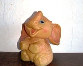 Big Elephant toy from Soviet era, squeaking rubber toy, Nursery decor, Soviet Union, 80-s, made in USSR