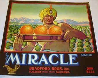 Miracle Brand Crate Label Original 1928