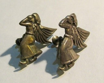 "Vintage mid century designer signed ""Arr"" mexican STERLING silver ANGEL screwback EARRINGS jewelry"