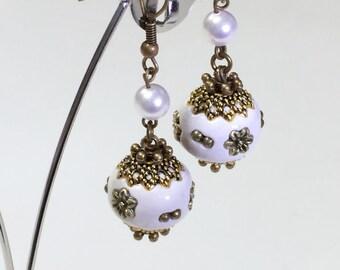 Tensha Beads Swarovski Pearls Victorian Rustic Bronze Earrings, Rustic Wedding Bridesmaids Gift E54