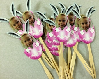 Easter egg photo cupcake toppers