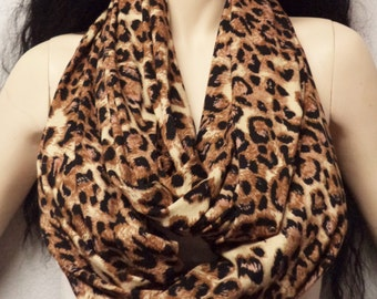 Meow Leopard Print Infinity Scarf SUPER Soft Jersey Knit Gift Ideas