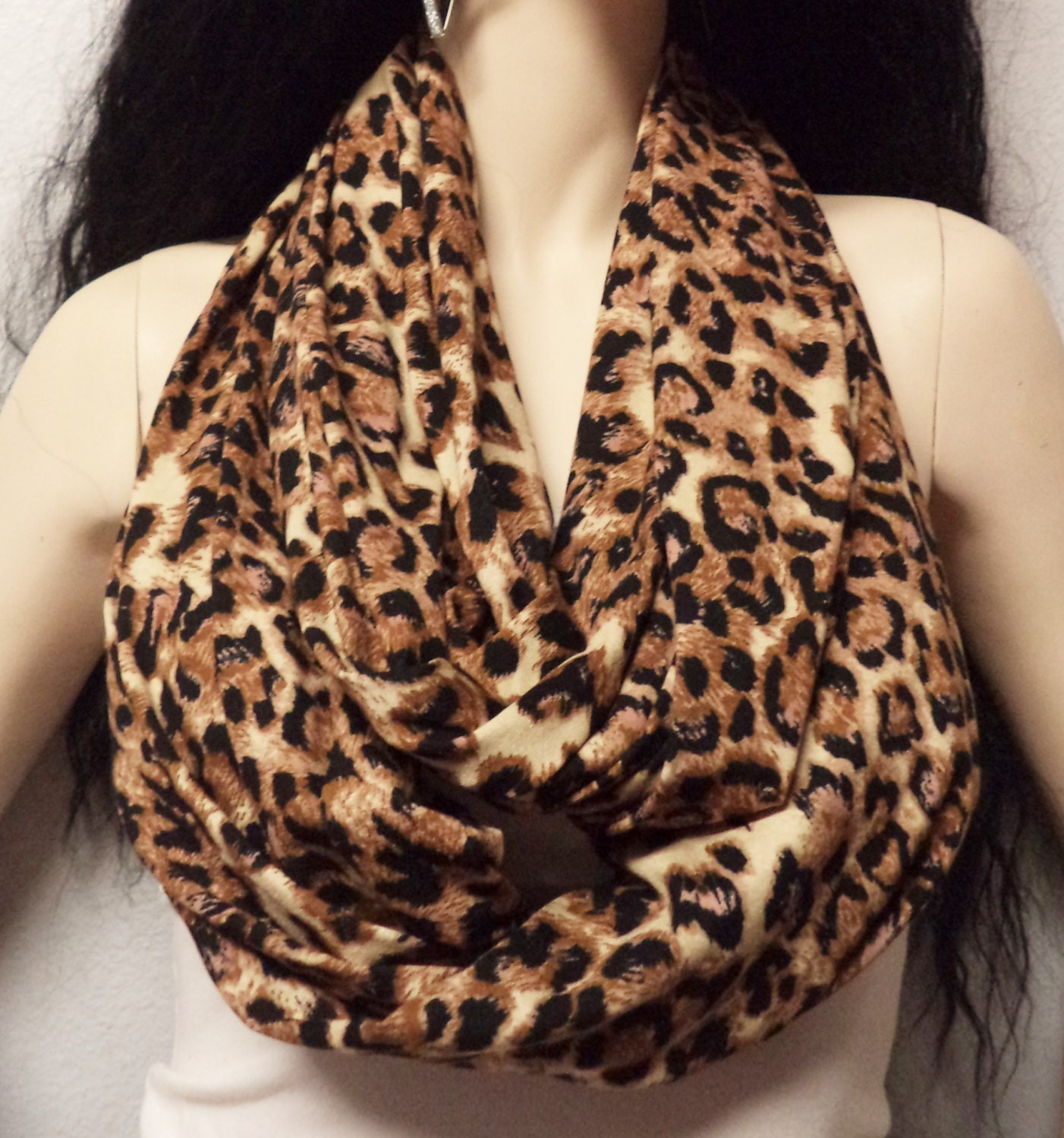 meow leopard print infinity scarf soft jersey knit gift