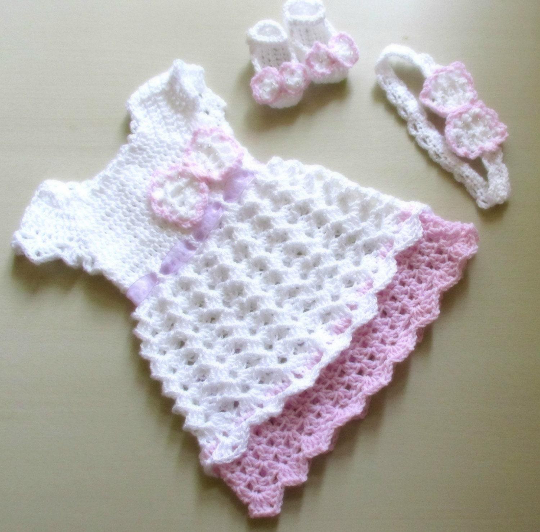 Crochet Baby Dress Headband Shoes