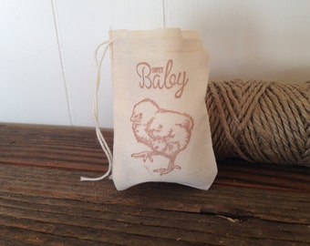 Baby Shower Muslin Favor Bag Sweet Baby Chick Stamped Muslin Cotton Bag Party Gift Rustic Country Nursery Theme Set of 10