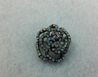 Japanned Multi-Dimensional Clear AB Rhinestone Brooch