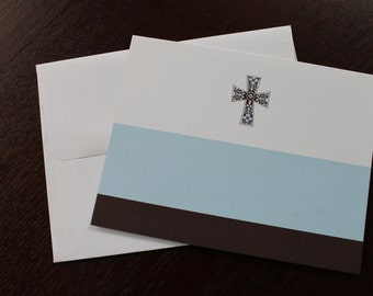 Printable, blue cross note cards