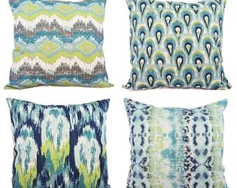 Blue Ikat Pillow Cover - Blue and Green Ikat Pillow Cover - Blue Pillows - Decorative Pillow - Blue Euro Sham - Green Ikat Pillow