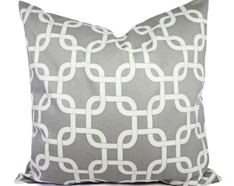 Two Grey and White Chainlink Decorative Throw Pillow Covers - Cushion Cover Accent Pillow - Grey Throw Pillow - Grey Pillows