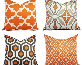 Two Throw Pillow Covers Orange and Beige - 16 x 16 Inch Decorative Pillow - Orange Quatrefoil Pillow - Accent Pillow -  Pillow Covers