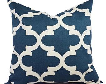 Quatrefoil Decorative Pillow Covers - Throw Pillow Cover - Blue Moroccan Trellis Pillow - Quatrefoil Pillow - Accent Pillow