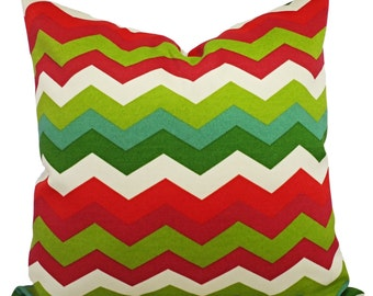 Two Red and Green Outdoor Pillow Covers - Red and Green Pillow - Chevron Patio Pillow - Couch Pillow - Accent Pillow