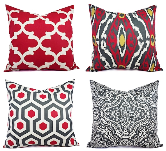Red And Beige Throw Pillows : Two Throw Pillow Covers Deep Red and Beige by CastawayCoveDecor