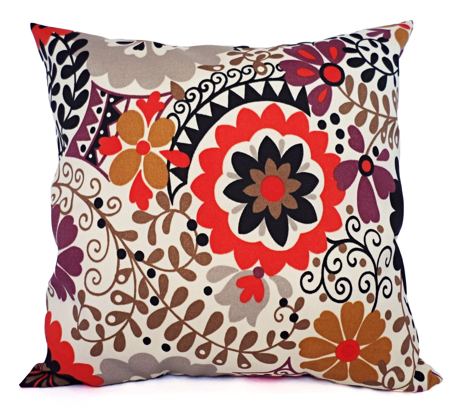 two couch pillows in red brown and beige floral suzani. Black Bedroom Furniture Sets. Home Design Ideas