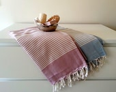 Set of 2 Turkish Towel, Beach towel, Bath towel, Pareo, Sarong, Yoga Matt, Spa Day, Fouta, Denim Blue, Rose