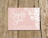Floral Sip and See Invitation - customize the colors - shown in grey, blue and blush