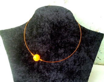 Cosmos choker, orange choker, wire wrapped choker, planet choker, orbital choker
