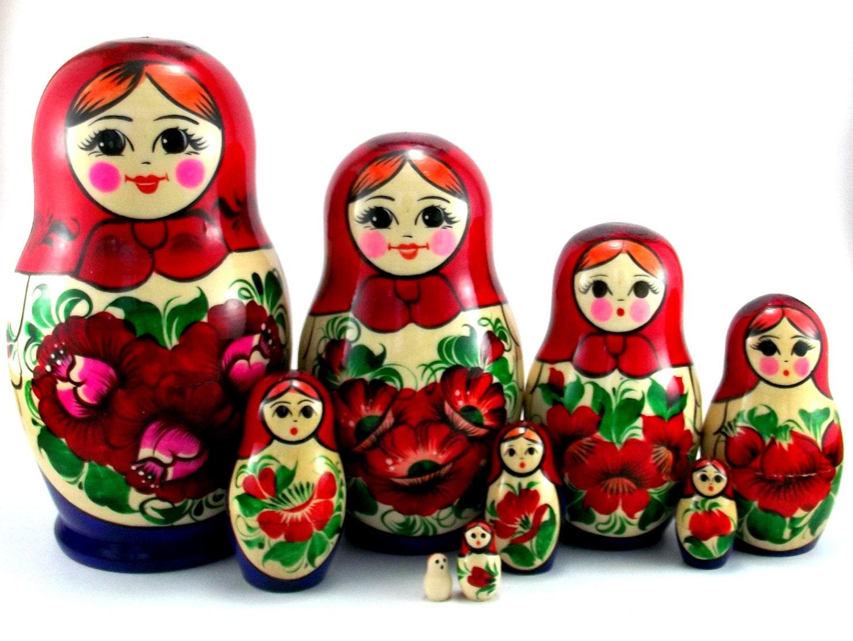 nesting dolls 9 pcs matryoshka russian babushka doll set