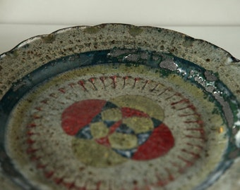 Unique hand made pottery plate
