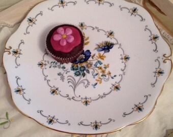 Duchess Blue Poppy Cake Plate, Vintage Wedding cake plate