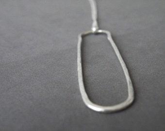 Geometric Sterling Silver Necklace Oval Pendant Necklace Modern Minimalist Jewelry by SteamyLab