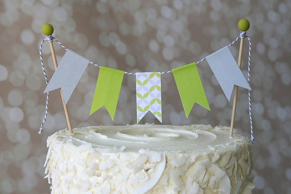 Lime Green & Grey Modern Geo Print Birthday Cake Bunting Pennant Flag Cake Topper-MANY Colors to Choose From!  Birthday, Shower Cake Topper