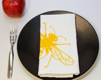 "Honey Bee Cloth Napkins. Hand Screen Printed. Set of 4. 100% Cotton. 18""x18""."