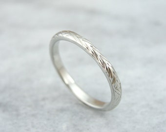 Substantial  White Gold Engraved Wedding Band 447FHN-D